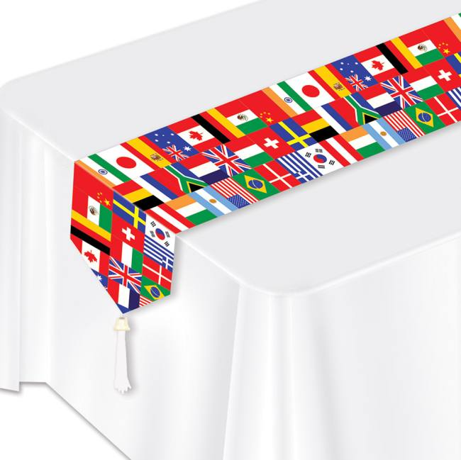 International Flags Laminated Paper Table Runner Party at