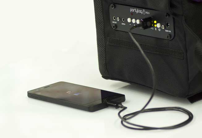 Like a Power Bank you can recharge electronic devices with Partybag