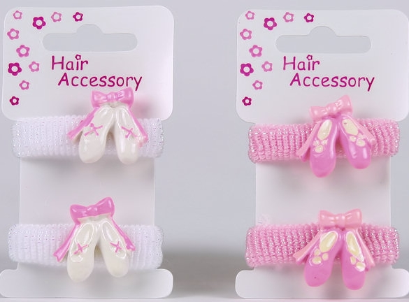 Ballerina Hair Ponios With Ballet Shoes Pink Or White