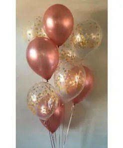 PARTY BALLOONSBYQ ROSE-GOLD-AND-CONFETTI-BOUQUET Party Balloons by Q