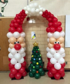 Santa claus balloon arch with tree