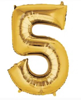 number balloon 5 gold