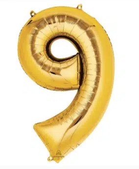 number balloon 9 gold