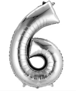 Number Balloon 6 Silver