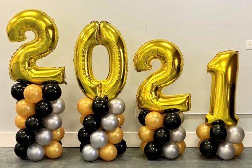 new year jumbo number balloon display
