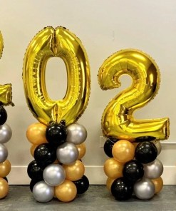 new year jumbo number balloon display
