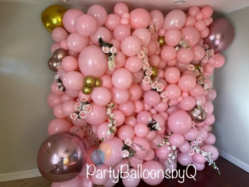 Pink Balloon Wall w/ florals