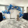 White Arched Chiara Back drop with Balloon Garland