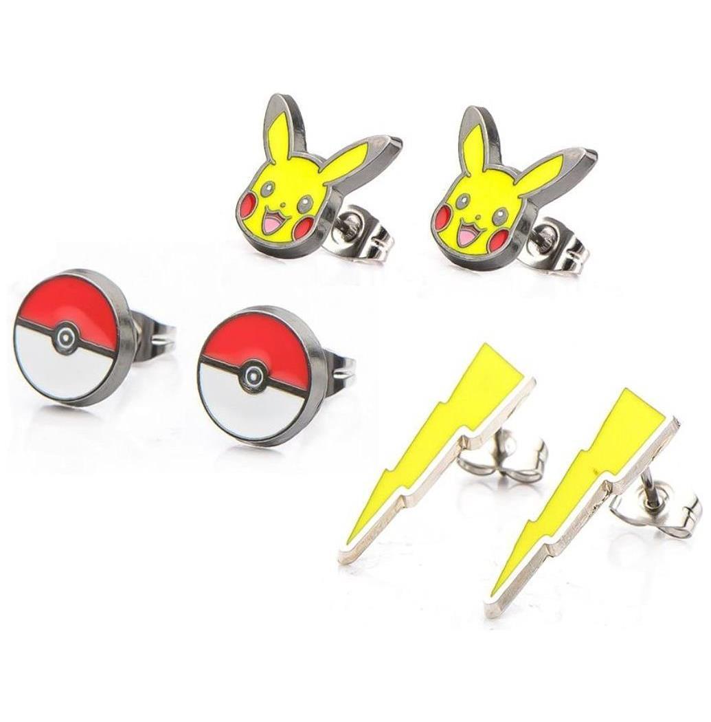 Pokemon Pikachu, Lightning Bolt and Pokeball Stud Earrings