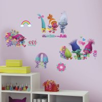 Trolls Movie Wall Decals with Glitter - PartyBell.com