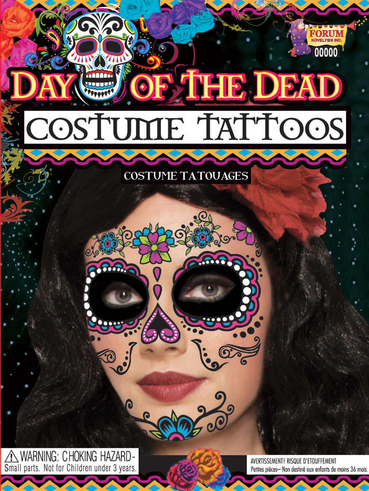 Day of the Dead Female Tattoo Face  Adult  PartyBellcom