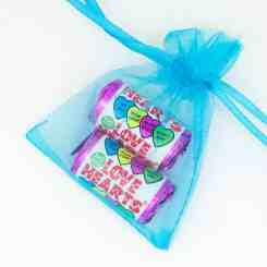 Blue Organza Gift Bags 7cm x 5cm - Love Heart Sweets