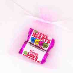 Pink Organza Gift Bags 7cm x 5cm - Love Heart Sweets