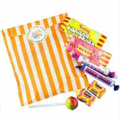 Orange Stripe Filled Paper Sweet Bags