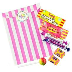 Pink Stripe Filled Paper Sweet Bags