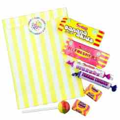 Yellow Stripe Filled Paper Sweet Bags