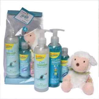 Bubbly Bubbles geschenkset blauw met knuffelschaap