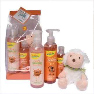 Bubbly Bubbles geschenkset oranje met knuffelschaap