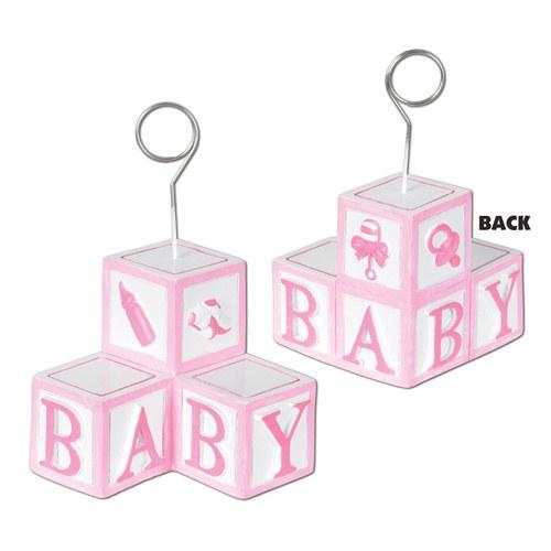 Pink Baby Blocks Photo/Balloon Holder
