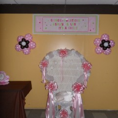 Baby Shower Chair Decorations White Styling With Headrest Brown Pink And Party By Teresa The Wall Behind Was Decorated A Personalized Banner Two Balloon Flowers In Polka Dots