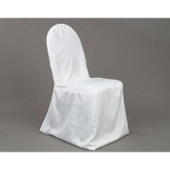 White Banquet Chair Covers Small Office Club Chairs Polyester Cover Party Depot