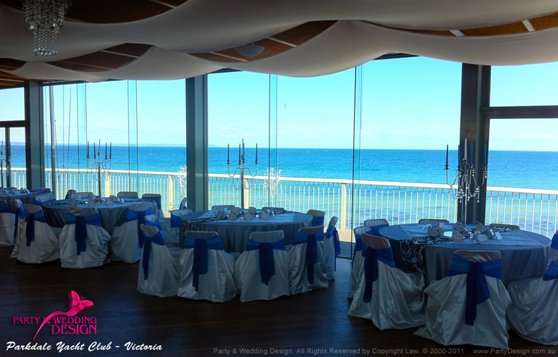 wedding chair covers hire melbourne outdoor egg transform a hall for ceiling drapes centrepieces parkdale yacht club
