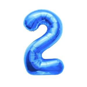 """Numero 2 Foil Gigante H 40""""/102 cm. Blu (5 pz)-0"""