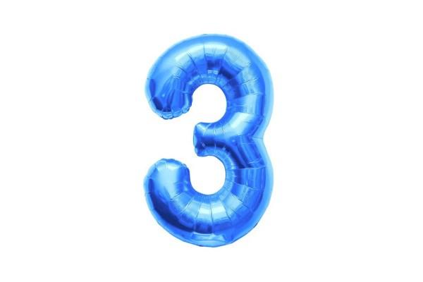 """Numero 3 Foil Gigante H 40""""/100 cm. Blu (5 pz)-0"""