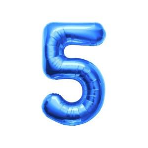 """Numero 5 Foil Gigante H 40""""/100 cm. Blu (5 pz)-0"""