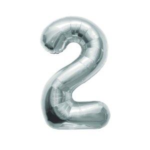 """Numero 2 Foil Medio H 14""""/36 cm. Silver (5 Pezzi)-0"""