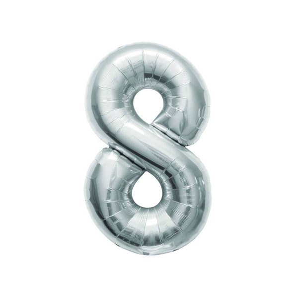 """Numero 8 Mylar Medio H 14""""/36 cm. Silver (5 Pezzi)-0"""