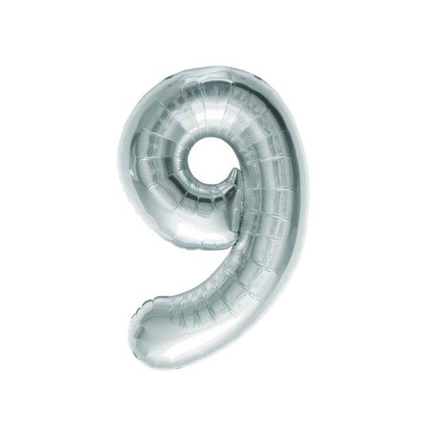 """Numero 9 Mylar Medio H 14""""/36 cm. Silver (5 Pezzi)-0"""
