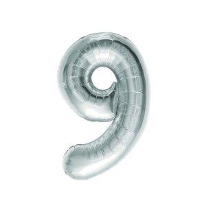 "Numero 9 Foil Gigante H 40""/102 cm. Silver (5 pz)-0"