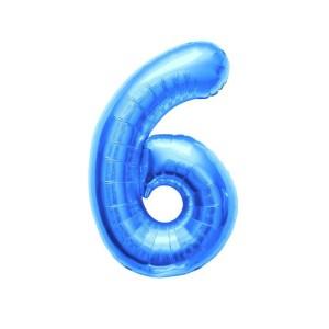 "Numero 6 Mylar Medio H 14""/36 cm. Blu (5 Pezzi)-0"