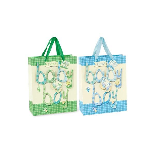 Shopper baby assortito azzurro e verde h.24 (12 pz)-0