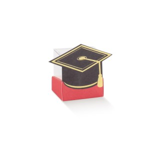 SCATOLA Portaconfetti Laurea CESTELLO ROSSO con TOCCO NERO 4X4X6 (10 PEZZI) -0