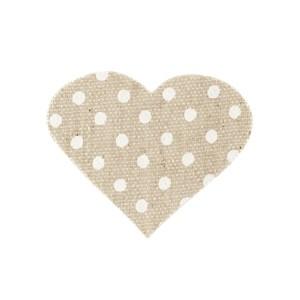 Applicazione cuore cotone beige pois (24 pezzi)-0