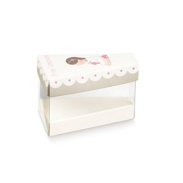 Scatola fetta di torta con coperchio comunione rosa (10 pezzi)-0