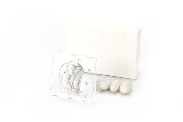 Icona Vetro e Strass con Placca Silver Prima Comunione Bambina 8x8 cm con Scatola -0