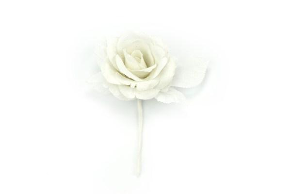Fiore Stoffa Bianco Decorazione Bomboniera (6 pezzi)-0