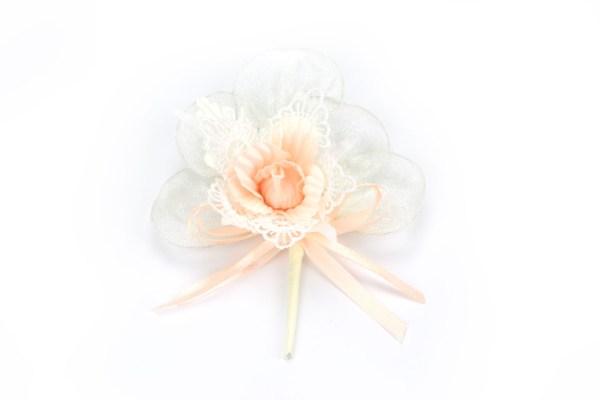 Bouquet Rosa Pesca con Merletto e Racchette Portaconfetti (6 pezzi)-0