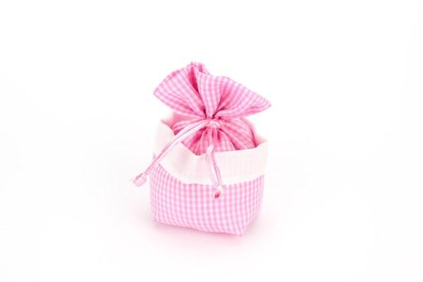 Sacchetto Portaconfetti Rustico a Quadretti Rosa con Tirante (10 pezzi)-0