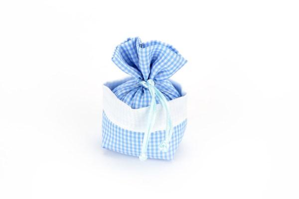 Sacchetto Portaconfetti Rustico a Quadretti Celeste con Tirante (10 pezzi)-0