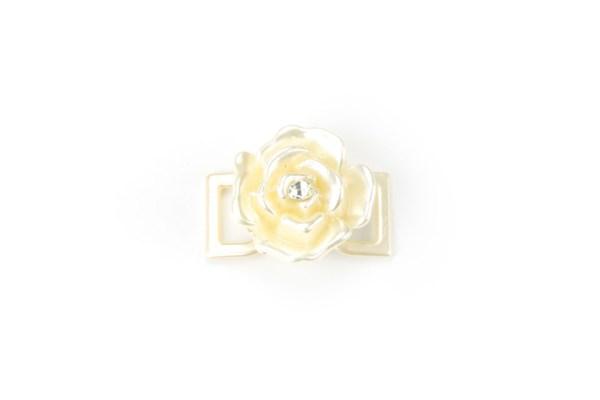 Fiore Perlato con Strass Applicazione per Nastro 3 cm (12 pezzi)-0
