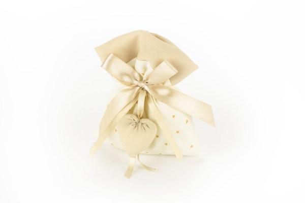 Sacchetto Portaconfetti Panna con Cuori Beige con Applicazione Cuore (10 pezzi)-0
