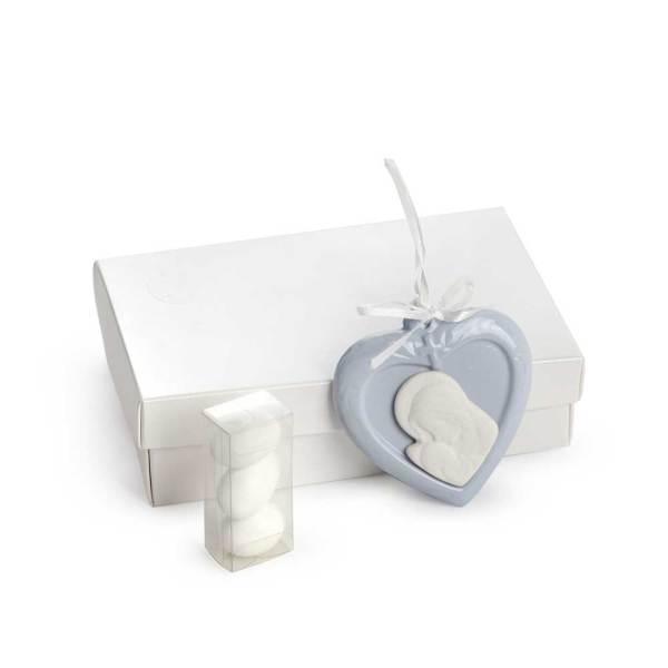 Bomboniera Cuore Celeste Maternita' con scatola e portaconfetti (6 pezzi)-0