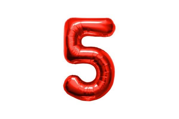 """PALLONCINO NUMERO """"5"""" MYLAR ROSSO H CM 36/14'' (5 PEZZI)-0"""