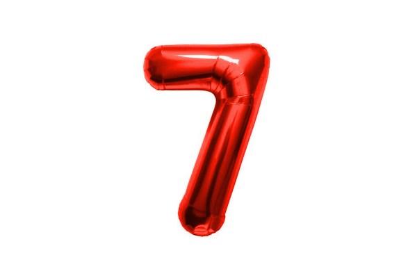 """PALLONCINO NUMERO """"7"""" MYLAR ROSSO H CM 36/14'' (5 PEZZI)-0"""