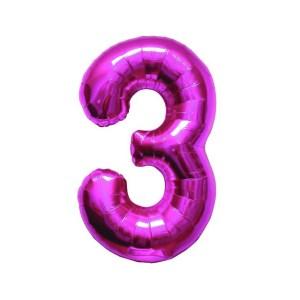 """Numero 3 Foil Piccolo H 8""""/20 cm. Fuxia (10 Pezzi)-0"""