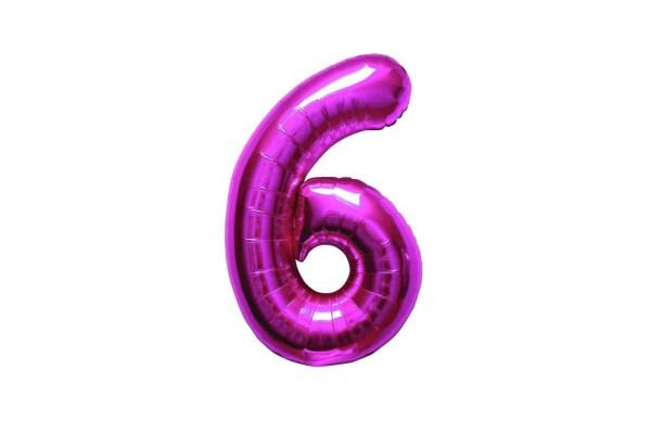"""Numero 6 Foil Piccolo H 8""""/20 cm. Fuxia (10 Pezzi)-0"""